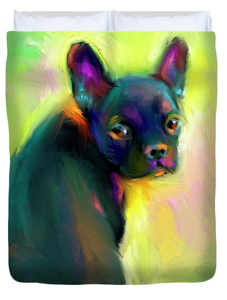 French Bulldog Painting 4 Duvet Cover by Svetlana Novikova