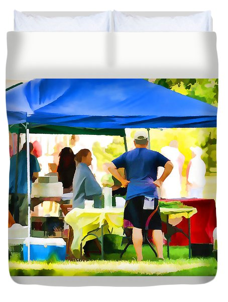 Fresh Organic Food At The Local Farmers Market Duvet Cover by Lanjee Chee