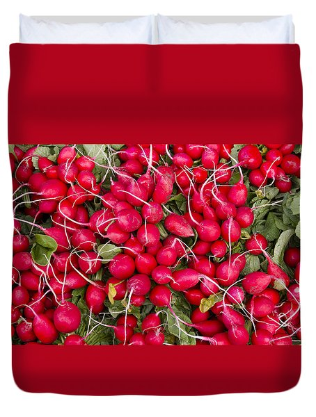 Fresh Red Radishes Duvet Cover by John Trax