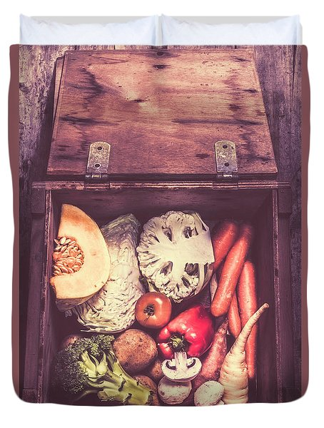 Fresh Vegetables In Wooden Box Duvet Cover by Jorgo Photography - Wall Art Gallery