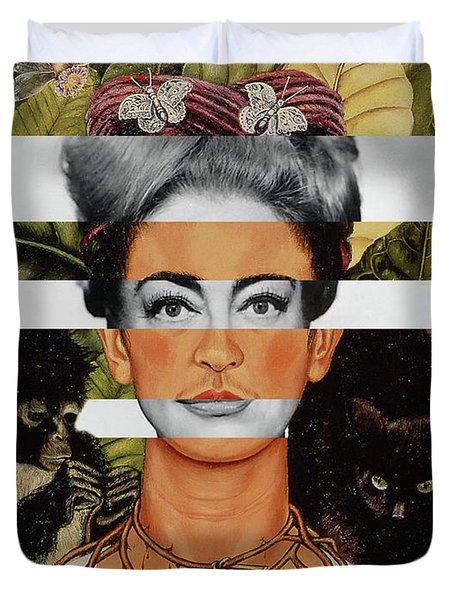 Frida Kahlo And Joan Crawford Duvet Cover by Luigi Tarini