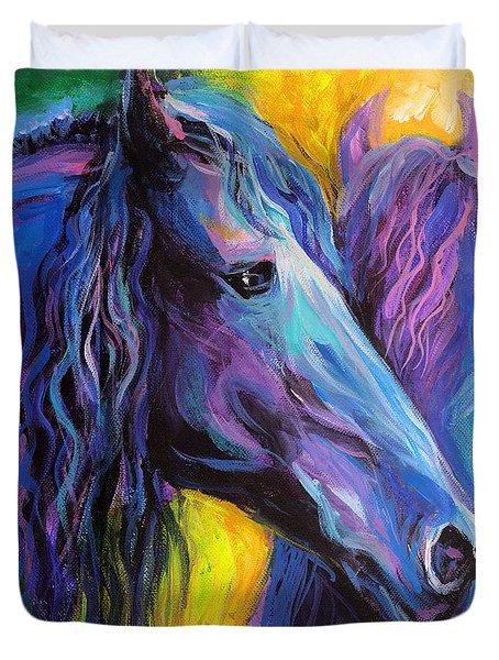 Friesian Horses Painting Duvet Cover by Svetlana Novikova