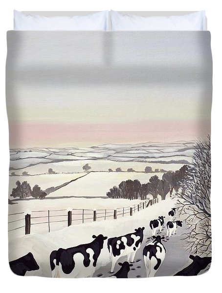 Friesians In Winter Duvet Cover by Maggie Rowe