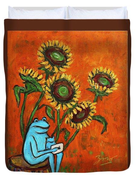 Frog I Padding Amongst Sunflowers Duvet Cover by Xueling Zou
