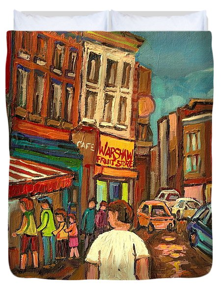 From Schwartz's To Warshaws To The  Main Steakhouse Montreal's Famous Landmarks By Carole Spandau  Duvet Cover by Carole Spandau