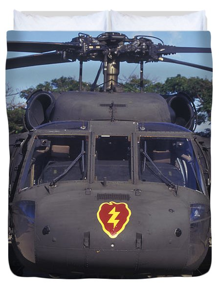 Front View Of An Army Hh-60 Pave Hawk Duvet Cover by Michael Wood