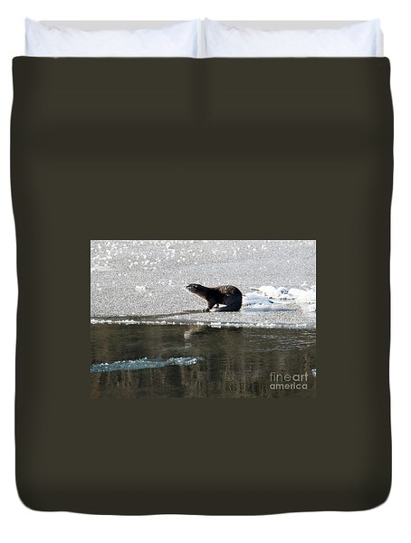 Frosty River Otter  Duvet Cover by Mike Dawson
