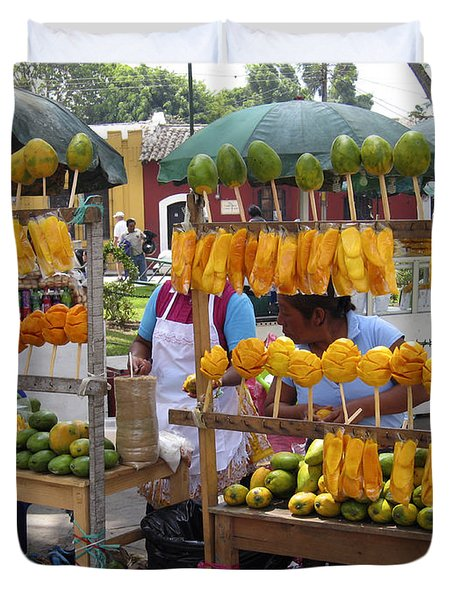 Fruit Stand Antigua  Guatemala Duvet Cover by Kurt Van Wagner