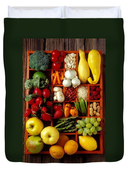Fruits and vegetables in compartments Duvet Cover by Garry Gay