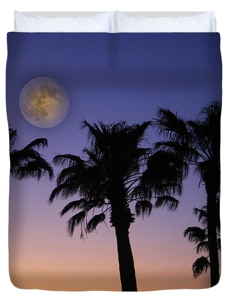 Full Moon Palm Tree Sunset Duvet Cover by James BO  Insogna