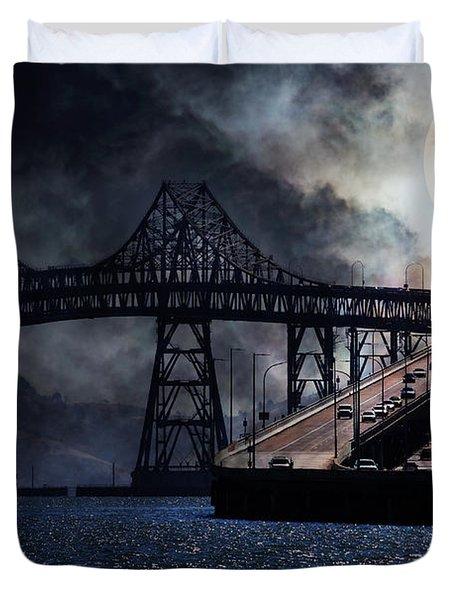 Full Moon Surreal Night At The Bay Area Richmond-san Rafael Bridge - 5d18440 Duvet Cover by Wingsdomain Art and Photography