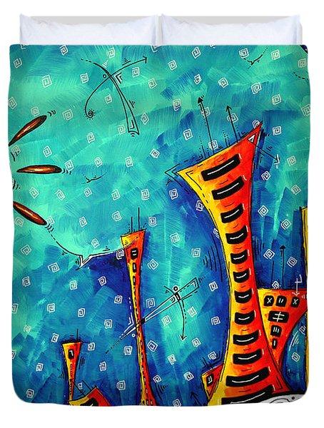 Funky Town Original Madart Painting Duvet Cover by Megan Duncanson