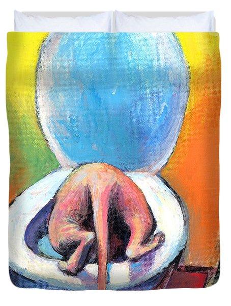 Funny Sphynx Cat painting prints Duvet Cover by Svetlana Novikova