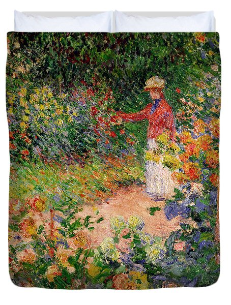 Garden At Giverny Duvet Cover by Claude Monet