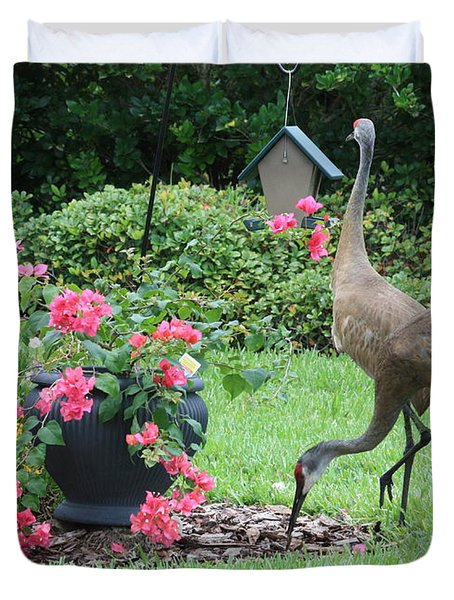 Garden Visitors Duvet Cover by Carol Groenen