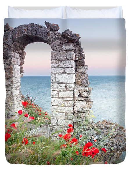 Gate In The Poppies Duvet Cover by Evgeni Dinev