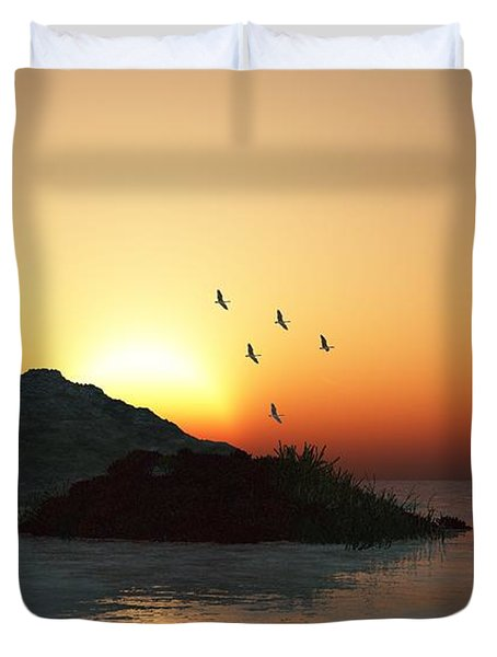 Geese And Sunset Duvet Cover by David Lane