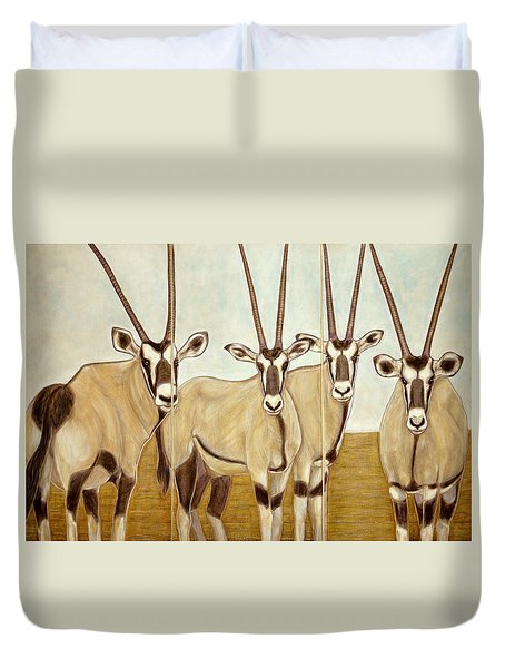 Gemsboks Or 0ryxs Triptych Duvet Cover by Isabelle Ehly