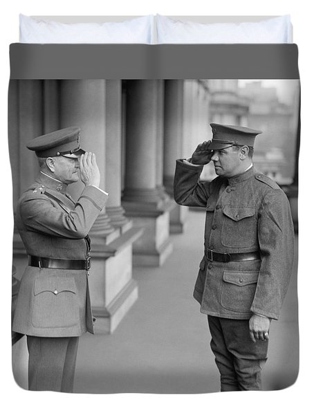 General John Pershing Saluting Babe Ruth Duvet Cover by War Is Hell Store