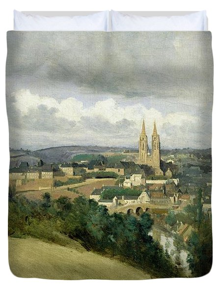 General View Of The Town Of Saint Lo Duvet Cover by Jean Corot