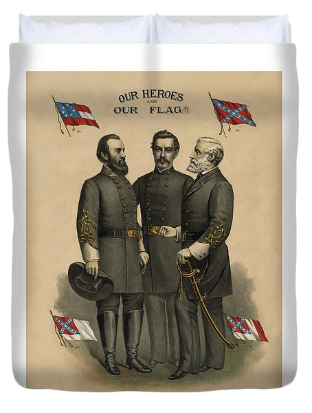 Generals Jackson Beauregard and Lee Duvet Cover by War Is Hell Store