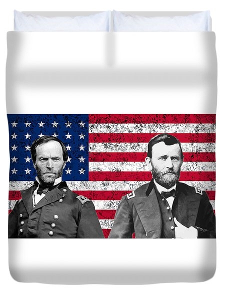 Generals Sherman and Grant  Duvet Cover by War Is Hell Store