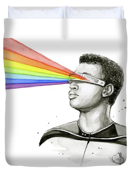 Geordi Sees The Rainbow Duvet Cover by Olga Shvartsur