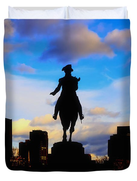 George Washington Statue Sunset - Boston Duvet Cover by Joann Vitali