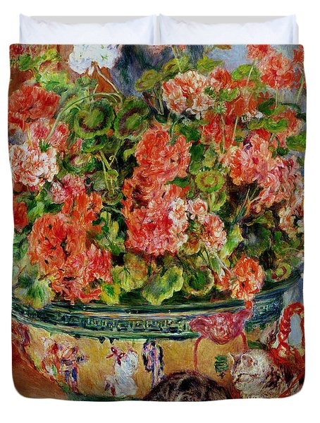 Geraniums And Cats Duvet Cover by Pierre Auguste Renoir