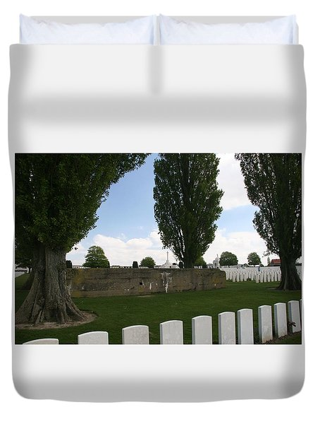 Duvet Cover featuring the photograph German Bunker At Tyne Cot Cemetery by Travel Pics