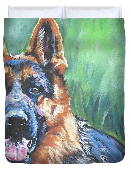German Shepherd Duvet Cover by Lee Ann Shepard