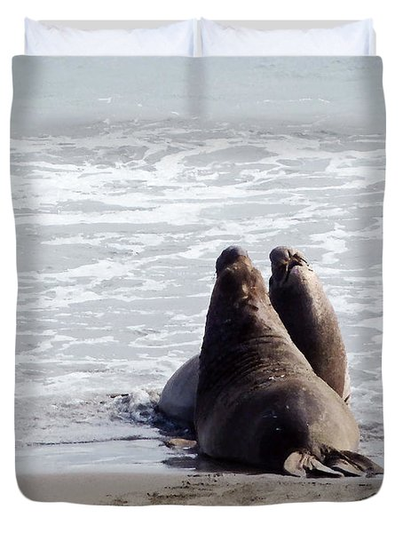 Get Off My Beach Duvet Cover by Methune Hively