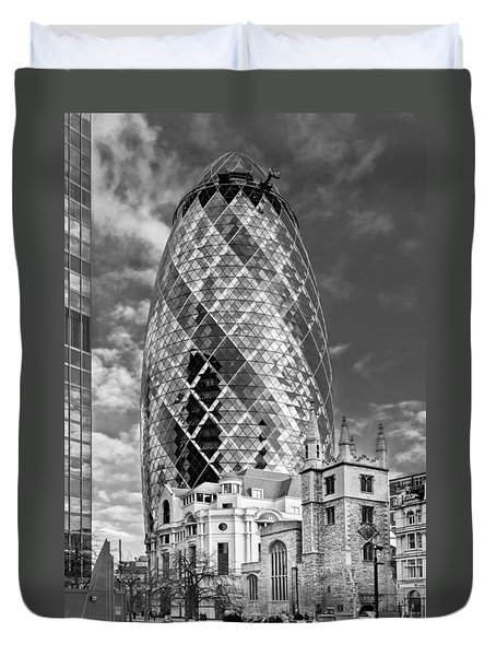 Gherkin And St Andrew's Black And White Duvet Cover by Gary Eason