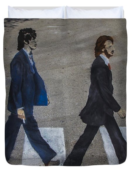 Ghosts of Abby Road Duvet Cover by Debra and Dave Vanderlaan