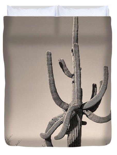 Giant Saguaro Cactus Sepia Image Duvet Cover by James BO  Insogna