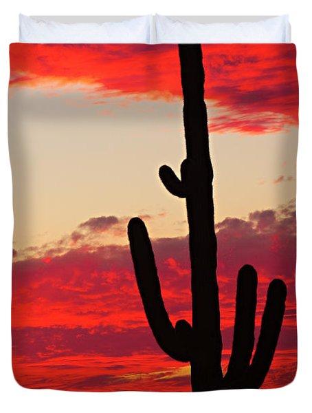 Giant Saguaro  Southwest Desert Sunset Duvet Cover by James BO  Insogna