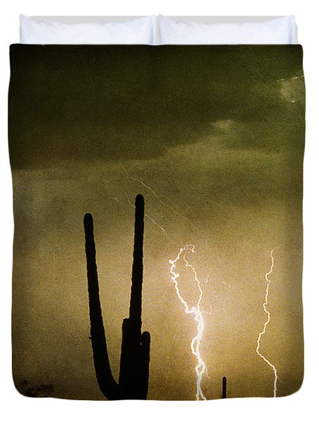 Giant Saguaro Southwest Lightning  Peace Out  Duvet Cover by James BO  Insogna