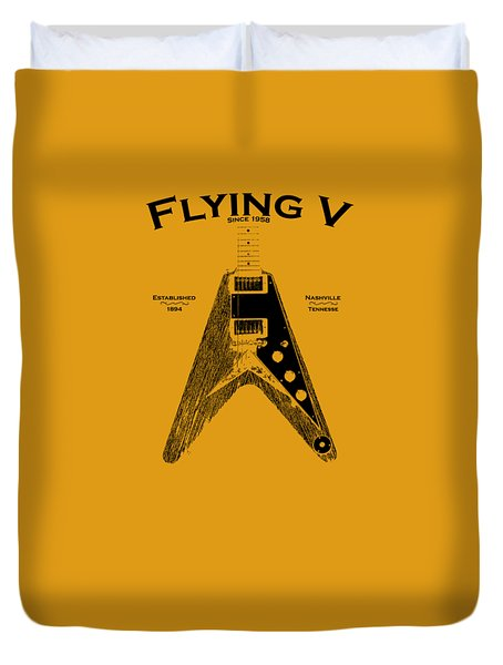 Gibson Flying V Duvet Cover by Mark Rogan