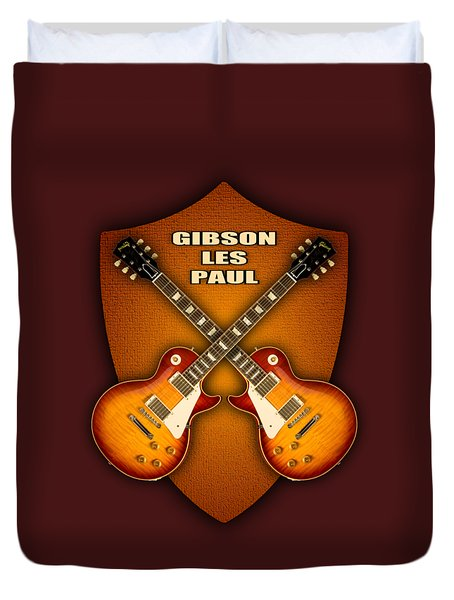 Gibson Les Paul Standart  Shield Duvet Cover by Doron Mafdoos