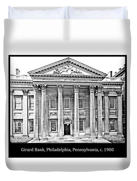 Duvet Cover featuring the photograph Girard Bank Building Philadelphia C 1900 Vintage Photograph by A Gurmankin