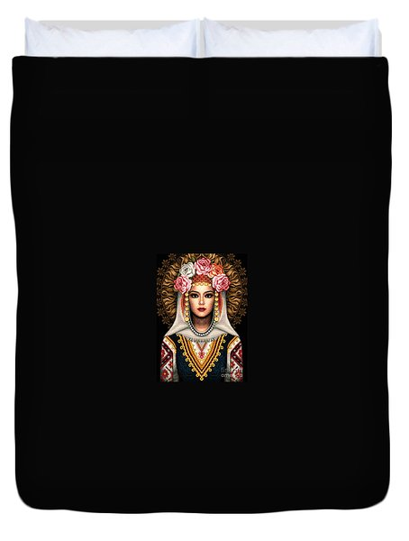 Girl In Bulgarian National Costume Duvet Cover by Stoyanka Ivanova
