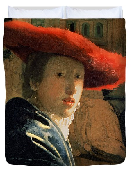 Girl With A Red Hat Duvet Cover by Jan Vermeer