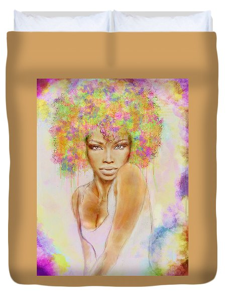 Girl With New Hair Style Duvet Cover by Lilia D