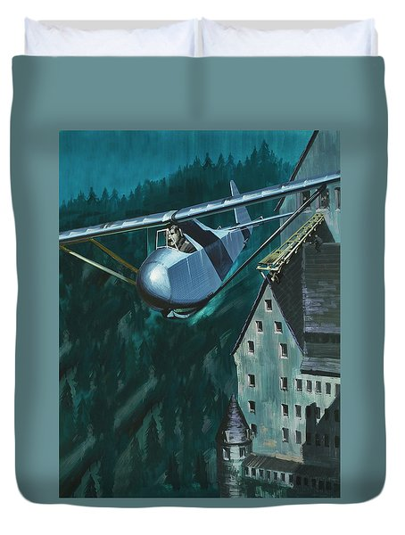 Glider Escape From Colditz Castle Duvet Cover by Wilf Hardy