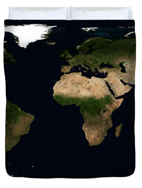 Global Image Of The World Duvet Cover by Stocktrek Images