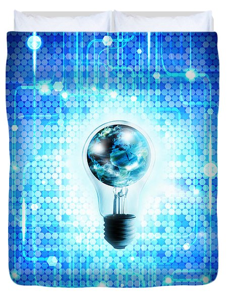 Globe And Light Bulb With Technology Background Duvet Cover by Setsiri Silapasuwanchai