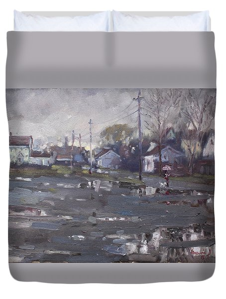 Gloomy And Rainy Day By Hyde Park Duvet Cover by Ylli Haruni