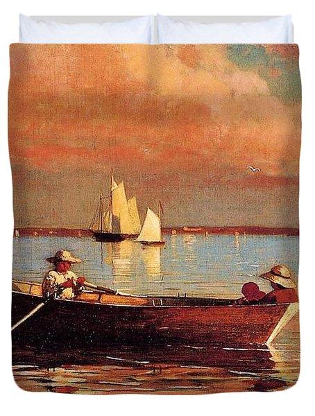 Gloucester Harbor Duvet Cover by Winslow Homer