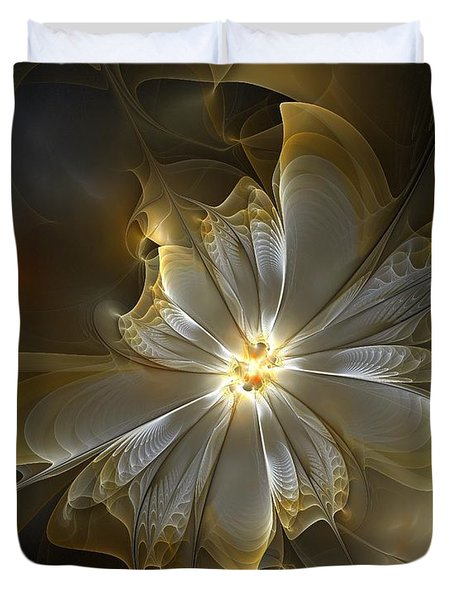 Glowing In Silver And Gold Duvet Cover by Amanda Moore