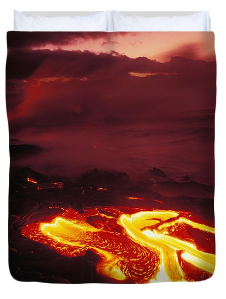 Glowing Lava Flow Duvet Cover by Peter French - Printscapes
